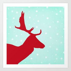 Oh Deer (red & blue) Art Print