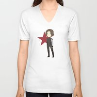 winter soldier V-neck T-shirts featuring Winter Soldier by Nozubozu