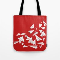 planes Tote Bags featuring Paper Planes by Becky Gibson