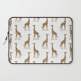 Gold Glitter Giraffe Pattern Laptop Sleeve