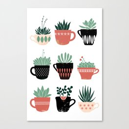 Windowsill Succulents Canvas Print