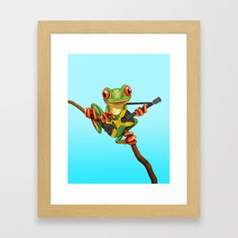 Tree Frog Playing Acoustic Guitar with Flag of Jamaica Framed Art Print