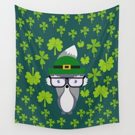 St. Patrick's Day decor with cute little fox Wall Tapestry