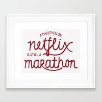 netflix Framed Art Prints featuring Netflix Marathon by gsalvatore