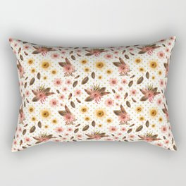Beautiful Australian Native Flowers on Gold Polka Dots Rectangular Pillow