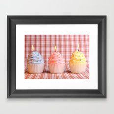 Cupcake candles Framed Art Print