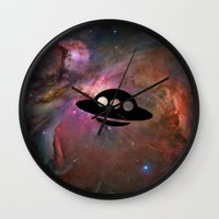 ufo Wall Clocks featuring UFO by Ace of Spades
