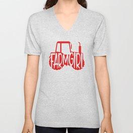 Farmer Gift Home Farm Girl Red Tractor Farming Gift Unisex V-Neck