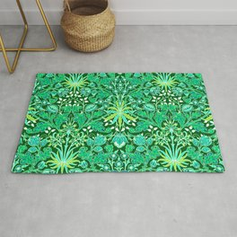 William Morris Hyacinth Print, Emerald Green Rug