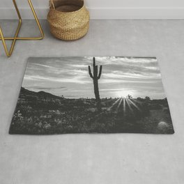 Saguaro Sunrise // Black and White Arizona Desert Landscape Photography Cactus Sun Rays Rug