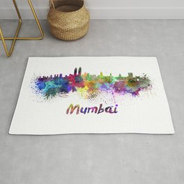 Mumbai skyline in watercolor Rug