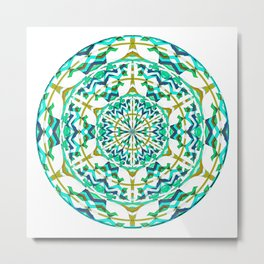 Retro Green Art Nouveau Geometric Mandala Metal Print