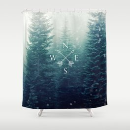 Arrow Compass in the Winter Woods Shower Curtain