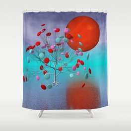 fancy tree and full moon -2- Shower Curtain