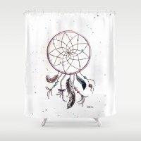 dream catcher Shower Curtains featuring Dream Catcher by SS Illustration & Design