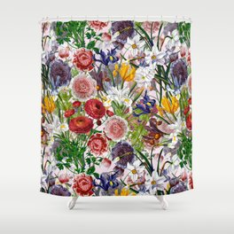 Vintage & Shabby Chic - Lush baroque flower pattern on pink Shower Curtain