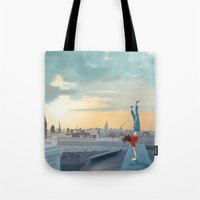 daredevil Tote Bags featuring Daredevil  by Lesley Vamos