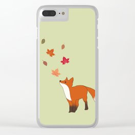 Baby fox in fall season. Clear iPhone Case