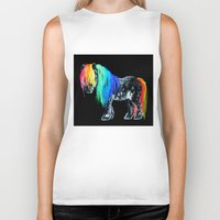 pony Biker Tanks featuring Rainbow Pony by Crystal Cook Art