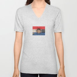 Old Vintage Acoustic Guitar with Dutch Flag Unisex V-Neck
