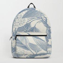 Floral Rose, Vintage Print, Botanical, Blue Backpack