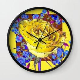 YELLOW ART & YELLOW ROSE BLUE MORNING GLORY Wall Clock