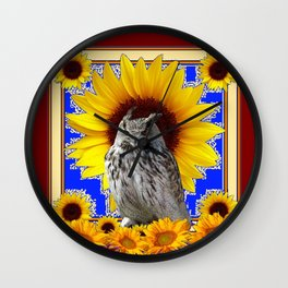 GREY OWL SUNFLOWERS  COFFEE BROWN  ART Wall Clock