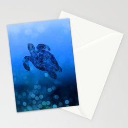 Sea Turtle In Deep Blue Water Stationery Cards