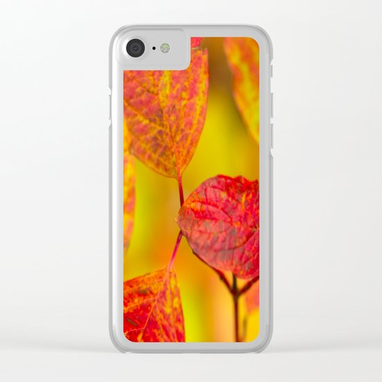 Red autumn leaves Clear iPhone Case