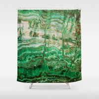 malachite Shower Curtains featuring MINERAL BEAUTY - MALACHITE by Catspaws