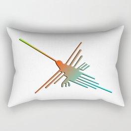 Colorful 3D Nazca Lines Hummingbird Rectangular Pillow