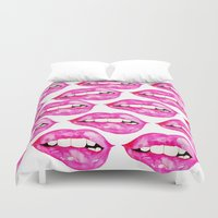 lip Duvet Covers featuring Lip Service by Talula Christian