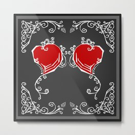 Gothic Hearts Sketch Metal Print