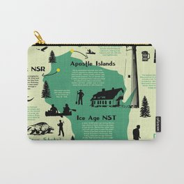 Wisconsin National Parks Infographic Map Carry-All Pouch