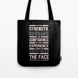 Lab No. 4 Strength Does Not Come Arnold Schwarzenegger Motivational Quote Tote Bag