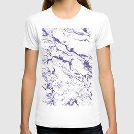 Modern trendy white marble purple ultra violet pattern T-shirt