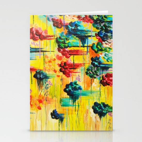 HERE COMES THE RAIN - Abstract Acrylic Painting Rain Storm Clouds Colorful Rainbow Modern Impasto Stationery Cards