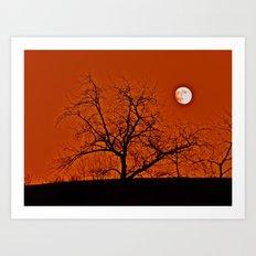 Red Sky Moon Art Print