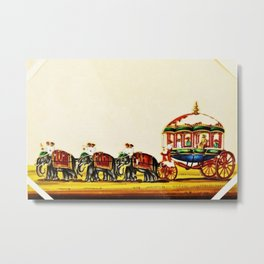 Classical Masterpiece 1820 'Maharaja Elephant-drawn Carriage, Bombay, Indian - Artist Unknown Metal Print