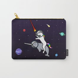 Unicorn Riding Narwhal In Space Carry-All Pouch