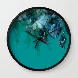 DREAMY FEATHERS & LEAVES - Deep Cyan Wall Clock