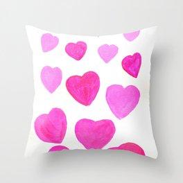 Pink Heart design Throw Pillow
