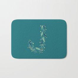 Turquoise flowers alphabet J Bath Mat