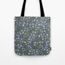 Purple Watercolor Flowers on Green Tote Bag