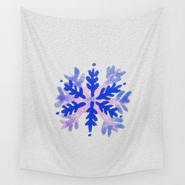 WATERCOLOR SNOWFLAKE 7 - blue and purple palette Wall Tapestry