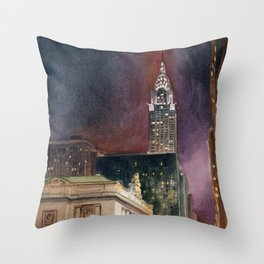 Grand Central Station and the Chrysler Building II Throw Pillow