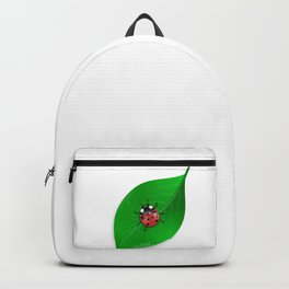 Ladybird and green leaf Backpack