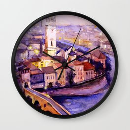 Watercolor painting of the medieval city of Verona, Italy by artist Ryan Fox Wall Clock