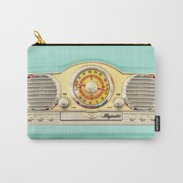 Retro old classic vintage blue teal Majestic radio iphone case Carry-All Pouch