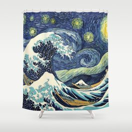 The Great Wave of Pug Starry Night Shower Curtain